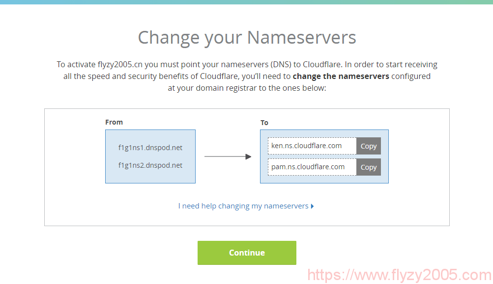 cloudflare-cdn-change-nameservers