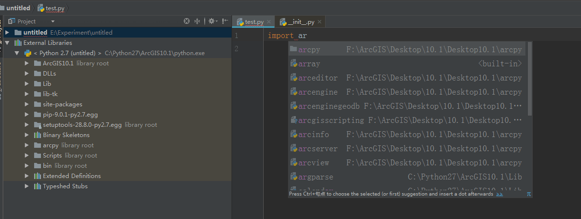 pycharm-import-arcpy